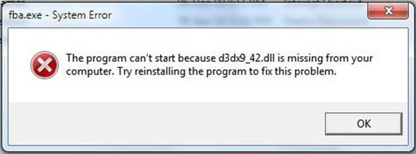 Системная ошиба D3DX9 42 DLL