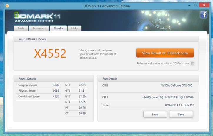 Интерфейс программы 3DMark